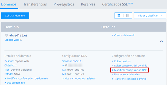 Modificar configuración DNS