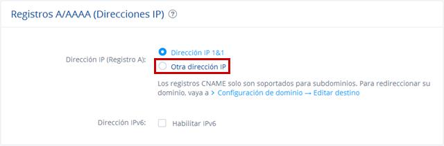 Otra dirección IP