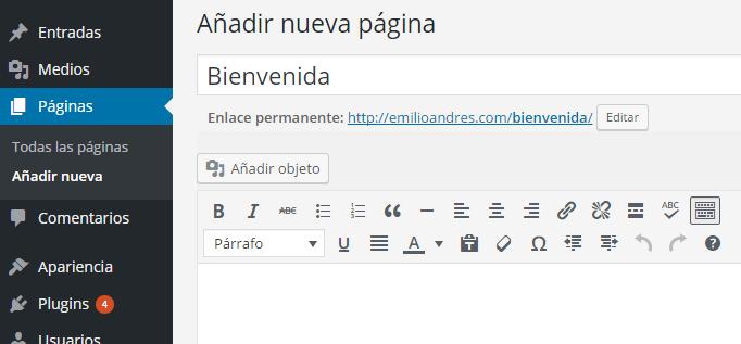 Agregar página en WordPress
